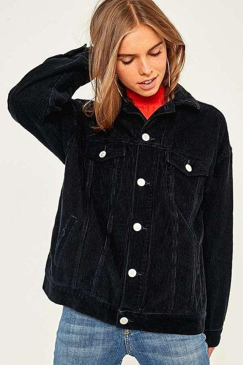 Uo Blue Corduroy Cropped Puffer Jacket