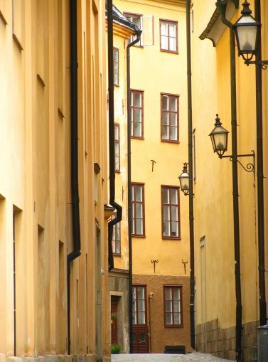 Narrow Alley of Stockholm Old Town - photo-wallpaper