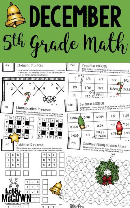 5th Grade December Math Packet No Prep Print Go Math Puzzles Math Activities And More H Christmas Math Activities Math Packets Holiday Math Activities