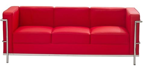 Le Corbusier Lc2 Sofa In Genuine Red Leather Genuine Leather