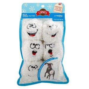 Grreat Choice Pet Holiday Comical Snowball 6 Pack Dog Toy