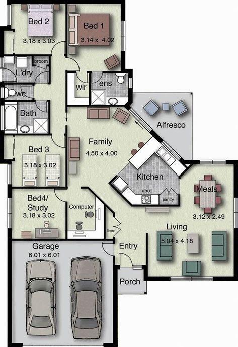 4 Bedrooms Double Garage House Floor Plan Home Design Floor Plans Luxury Floor Plans House Floor Plans