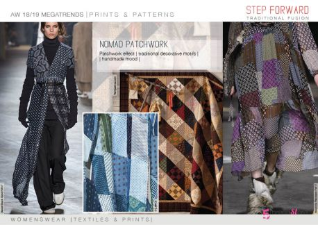 FW 2018-19 Prints & Patterns Directions by 5forecastore: nomad patchwork, traditional decorative motifs, handmade mood.