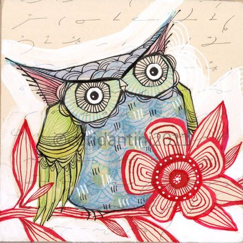 Items similar to blue owl - watercolor painting - 8 x 8 inch print - archival, limited edition - by cori dantini on Etsy
