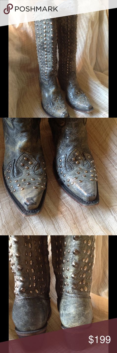 CORRAL VINTAGE BOOTS These are beautiful studded cowboys boots lovingly worn in good condition! They are a grayish color with a turquoise undertone Corral  Shoes Heeled Boots