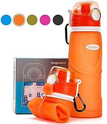 Collapsible Water Bottles Silicone Water Bottle Silicone Foldable Canteen with Leak Proof Valve for Outdoor Sports Camping Hiking 20.5oz FDA-Approved