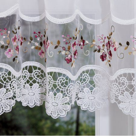 Vintage Embroidered Rose Kitchen Curtain Swag Walmart Com Shabby Chic Kitchen Curtains Shabby Chic Kitchen Kitchen Curtains