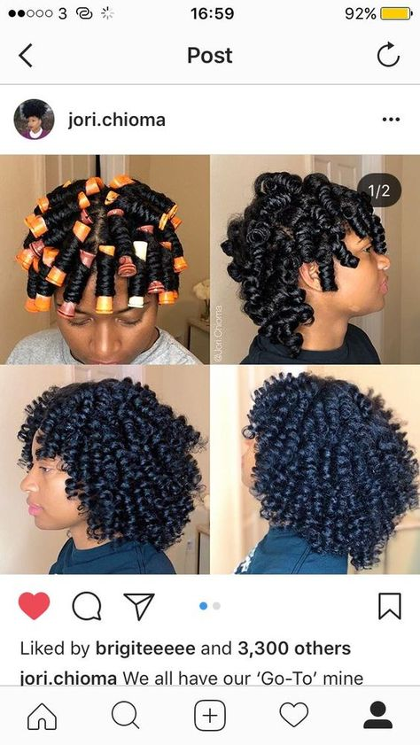 perm rods on natural hair All natural curl Pelo Natural, Natural Hair Tips, Natural Hair Growth, Natural Curls, Natural Black Hair Products, Natural Hair Perm Rods, Roller Set Natural Hair, Braid Out Natural Hair, Natural Hair Styles For Black Women