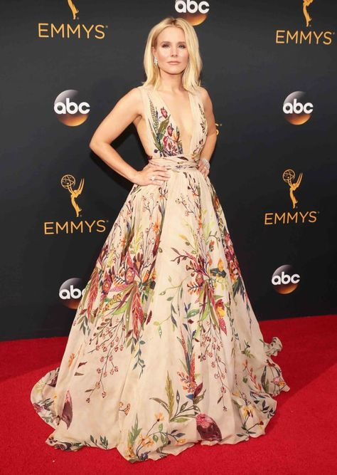2016 Emmys: Kristen Bell in a plunging, floral-printed Zuhair Murad gown, Brian Atwood heels and Harry Winston jewels