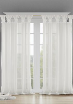 Madison Park Rosette Floral Embellished Cuff Tab Top Solid Window Panel In 2021 White Paneling Solid Window Dining Room Window Treatments