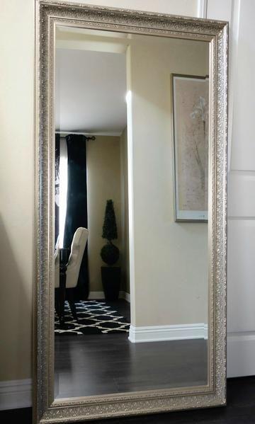 Elegance Ornate Embossed Wood Framed Floor Mirror Champagne Silver Gold Floor Mirror Elegant Home Decor Elegant Homes