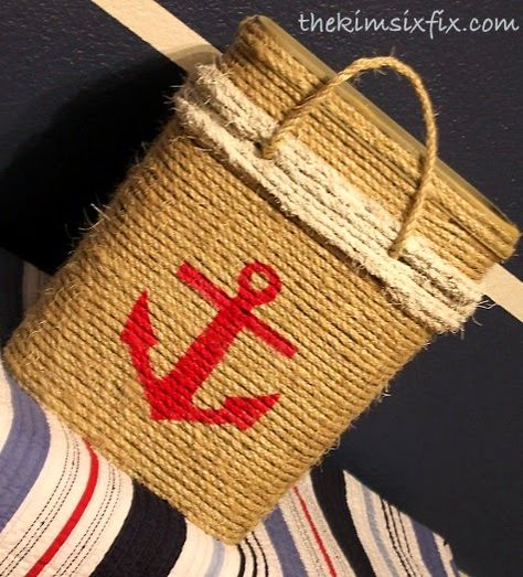 Recreating the Wicker Basket Looks by Recycling a Container with Rope! Featured on CC: http://www.completely-coastal.com/2014/10/diy-wicker-basket-ideas-with-paint-rope.html