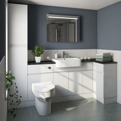 Orchard Wharfe White Corner Small Storage Fitted Furniture Pack With Black Worktop Fitted Bathroom Furniture Fitted Furniture Fitted Bathroom