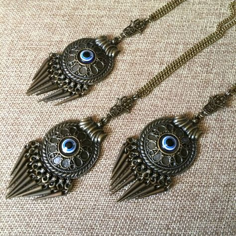 Bronze Evil Eye Medallion Necklace - Hamsa and Evil Eye Spiked Medallion on Bronze Rolo Chain - Bohemian Jewelry