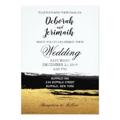 Zazzle Wedding Invitations.Gold Black Elegant Modern Wedding Invitation Zazzle Com Gold