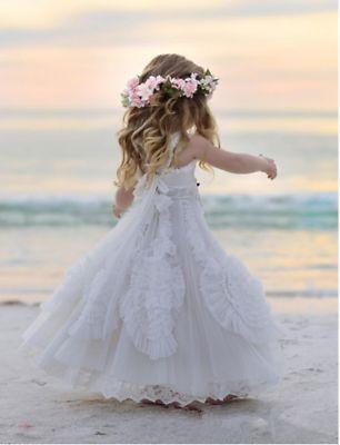 White Lace Boho Flower Girl Dress Beach Wedding Princess Pageant