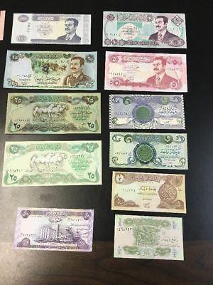 . 5 Nots UNC SADDAM HUSSEIN IRAQ IRAQI DINAR  BANKNOTE LOT