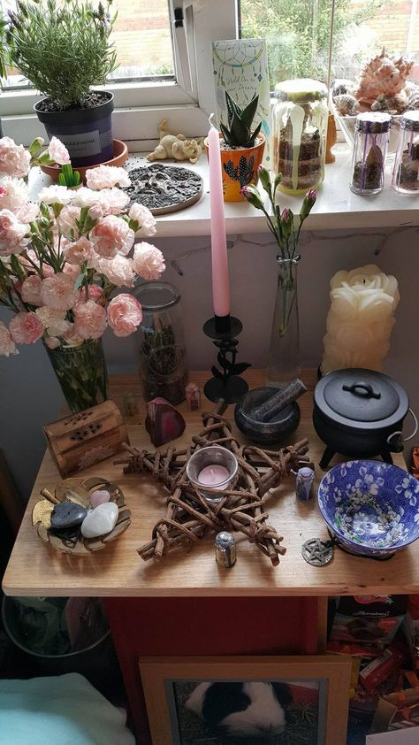 Part of aerisian faith is maintaining a family altar to honour house gods. The house gods are those deities that family members are born under, and honouring them with the altar ensures good fortune for the family. Whether you practice witchcraft, Wicca, Wicca Altar, Modern Witch, White Witch, Witch Aesthetic, Beltane, Kitchen Witch, Book Of Shadows, Magick, Wicca Witchcraft