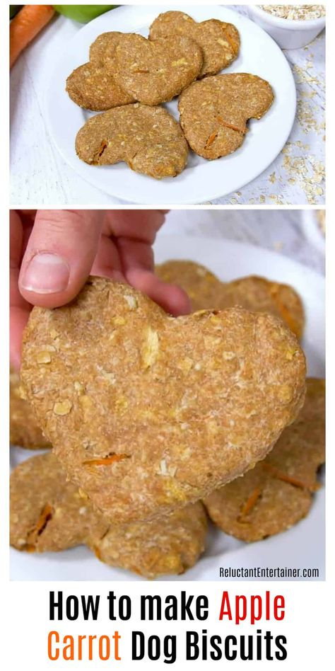 How to make Apple Carrot Dog Biscuits is an easy recipe. Homemade dog biscuits are the perfect hostess gift or stocking stuffer for your dog-loving friends. Dog Biscuit Recipes, Dog Treat Recipes, Healthy Dog Treats, Dog Food Recipes, Dog Biscuit Recipe Easy, Recipe For Dog Biscuits, Dog Cookie Recipes, Meatless Recipes, Fast Recipes