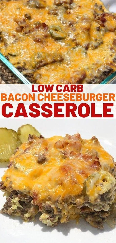 Keto bacon cheeseburger casserole made with ground beef and cream cheese. This r… Keto bacon cheeseburger casserole made with ground beef and cream cheese. This r…,Low Carb Recipes Keto bacon cheeseburger casserole made with. Stew Meat Recipes, Ground Meat Recipes, Low Carb Recipes, Healthy Recipes, Low Carb Hamburger Recipes, Keto Recipe With Ground Beef, Casseroles With Ground Beef, Keto Recipes With Bacon, Hamburger Meat Casseroles
