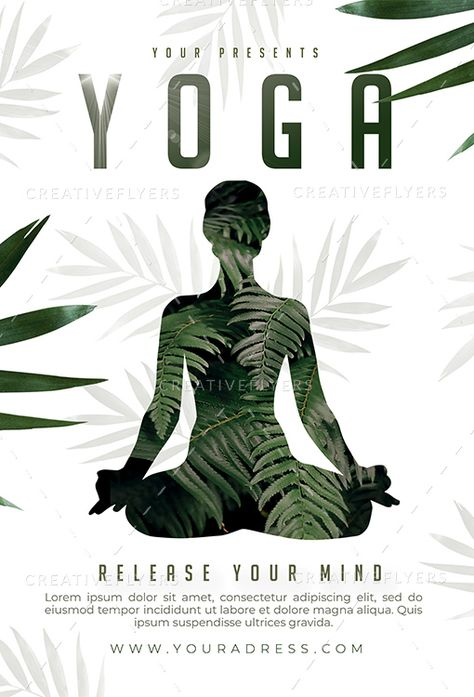 Minimalist Yoga Class Flyers Template | Sports Creative flyers