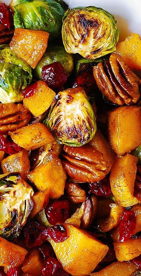 Thanksgiving Side Dish: Butternut Squash, Brussels Sprouts, Cranberries, Pecans #Thanksgiving #butternutsquash #brusselssprouts Veggie Dishes, Food Dishes, Fall Vegetable Side Dishes, Vegetable Dishes For Christmas, Side Dishes For Turkey, Veggie Christmas, Vegetable Sides, Christmas Tree, Thanksgiving Sides