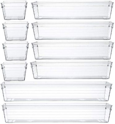 Clear Plastic Drawer Organizer Tray For Vanity Cabinet Set Of 10 Storage Tray In 2020 Plastic Drawer Organizer Plastic Drawers Drawer Organisers