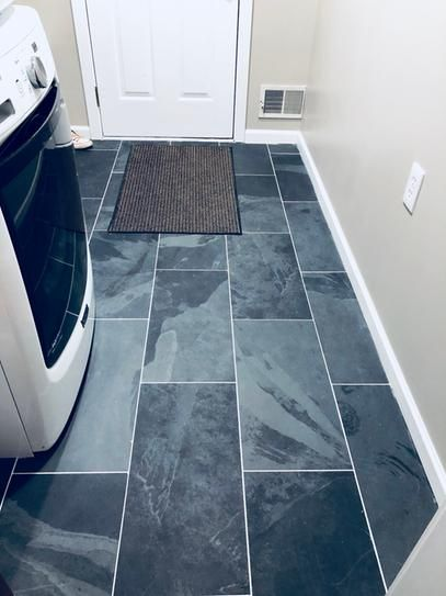 Msi Montauk Black 12 In X 24 In Gauged Slate Floor And Wall Tile 10 Sq Ft Case Shdmonblk1224g The Home Depot Slate Flooring Blue Tile Floor Flooring