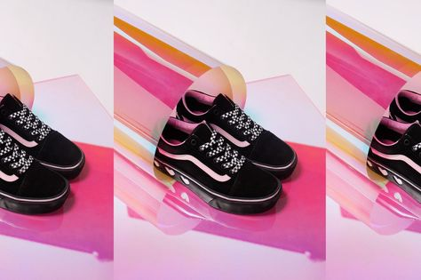 cff323ec48d9 Vans X Lazy Oaf Old Skool Platform Black Platform lifted Old Skool  silhouette. Heart artwork on mid-sole. Custom checkerboard laces. Pink  mid-sole piping.