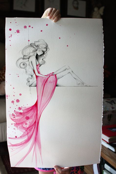Painting OOAK Fine Art Original Watercolor Pencil Drawing Pink Beautiful Girl Large Abstract Fashion Illustration By ABi