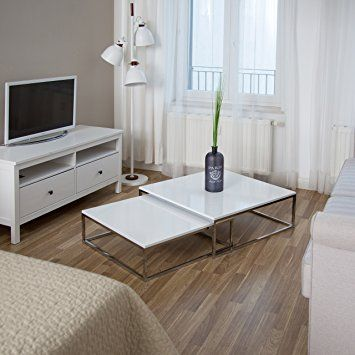 Relaxdays Couchtisch Holz Flat 2er Set Weiss Lackiert Hbt 27 X 80 X 80cm Grosser Wohnzimmertisch Passt Ineinander Als Satztisch Flac Tafel Ideeen Interieur Tafel