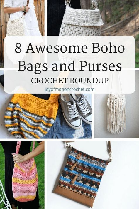 8329c3e926b Crochet patterns for 8 awesome boho bags and purses. Bohemian crochet bags  with fringe. Gypsy style crochet bags. Shabby chick crochet ideas.
