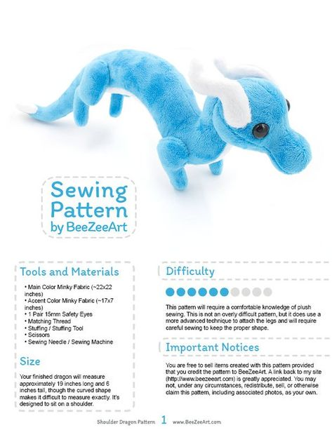 This item is a digital download for a plush toy sewing pattern in .pdf form. Absolutely no physical items will be sent. Please read the entire listing before purchasing. Create your new best friend and carry them around with you, perched on your shoulder, with this dragon sewing pattern.