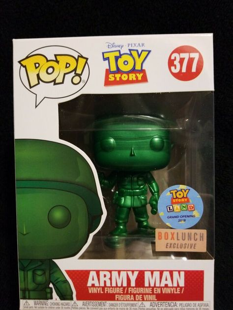 Box Lunch Exclusive//Toy Story Land Grand Opening Funko Pop Disney #377 Toy Story Metallic Army Man