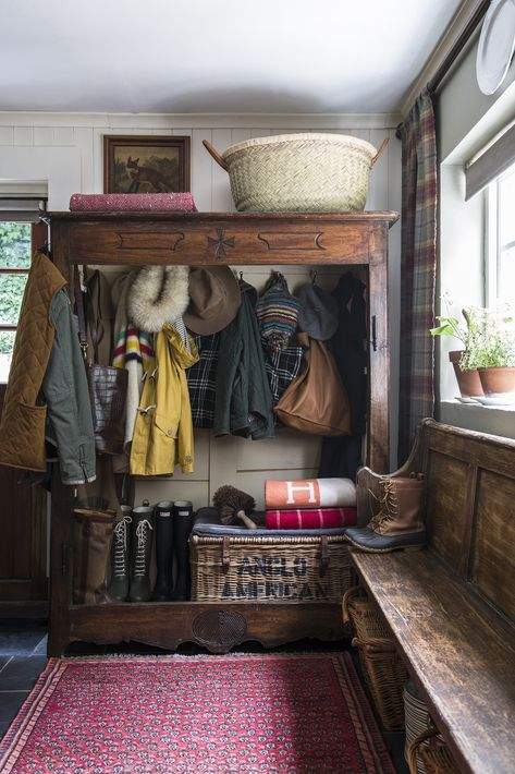 I love the idea of using an antique armoire in a mudroom for a coat closet! Image via 📸 Jody Stewart Decor, Furniture, Boot Room, Room, Mudroom, House, Home, House Styles, House Interior