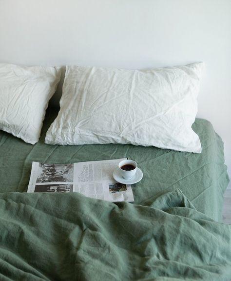 Linen Duvet Cover in Green / Stonewashed Linen Bedding / Soft My New Room, My Room, Linen Duvet, Linen Fabric, Home Interior, Cheap Home Decor, Luxury Bedding, Room Inspiration, Duvet Cover Inspiration