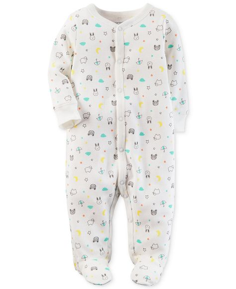 ee15790b6aed Carter s 1-Pc. Animal-Print Thermal Cotton Footed Coverall