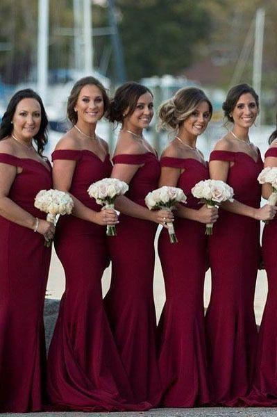 Brautjungfernkleider Rot Lang