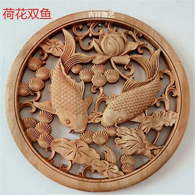 Chinese Hand Carved 荷花双鱼 Statue camphor wood round plate wall sculpture - Wood Wall Sculptures - Ideas of Wood Wall Sculptures