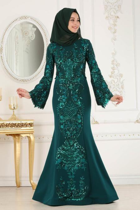 Tesetturlu Abiye Elbise Pul Payetli Pelerinli Yesil Tesettur Abiye Elbise 4378y Tesetturisland Com 2020 Aksamustu Giysileri The Dress Elbise Modelleri