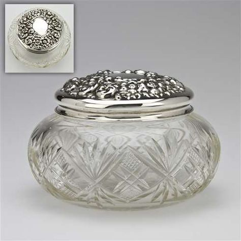 Dresser Jar, Glass w Sterling Lid Rose & Scroll Design in