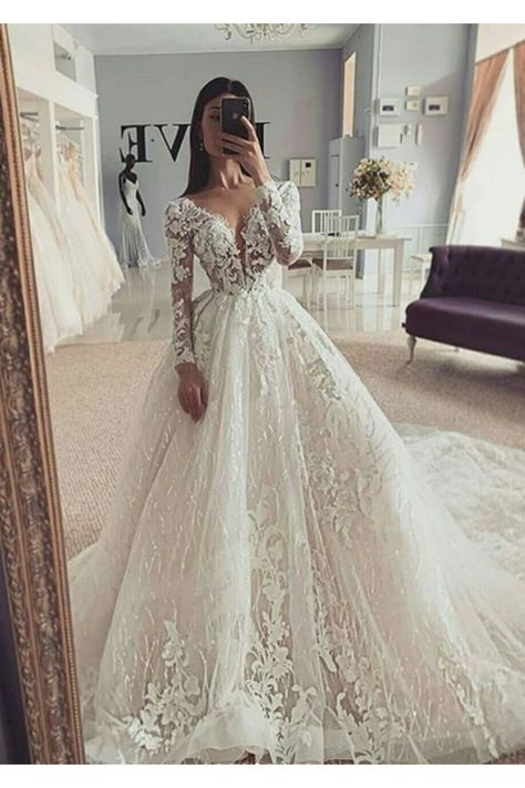Ball Gown Illusion Long Sleeve Wedding Dress with Appliques V Neck     313 44 SAPCNBK148   SchickeAbendKleider de Ball gown illusion long sleeve wedding dress with applications V neck The Effective Pictures We Offer You About wedding dress ball gown gold  A quality picture can tell you many things  You can find the most beautiful pictures that can be presented to you about  wedding dress ball #Appliques #Ball #Dress #Gown #Illusion #Long #SAPCNBK148 #SchickeAbendKleiderde #Sleeve #VNeck #wedding