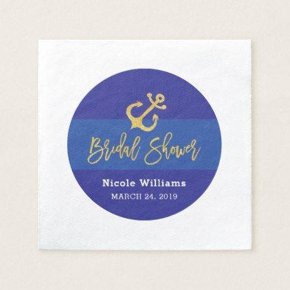 Anchor Nautical Bridal Shower Napkin Zazzle Com With Images Napkins Bridal Shower Nautical Bridal Showers Bridal Shower