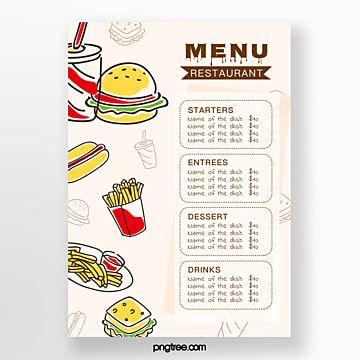القائمة مطعم على غرار الكرتون Menu Restaurant Restaurant Menu Template Menu Template