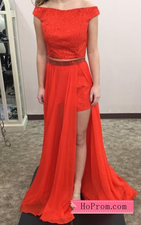 738cc8a1c5bb Copy of Off Shoulder Cap Sleeves Red Two Piece Prom Dress Shorts Long  Overlay High Side