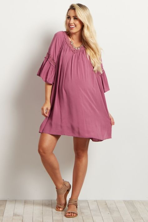 36b36a13d05 Create the ultimate boho-chic look this summer with this delicate crochet  detailed maternity dress tunic. Style with your gladiator sandals for an ...