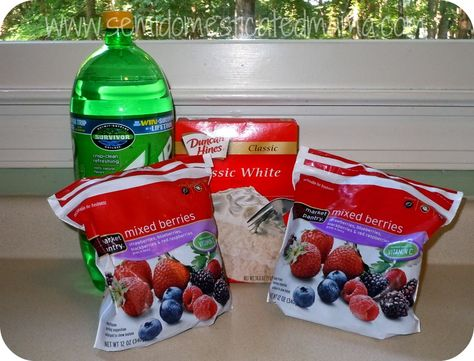 Fruit Cobbler  2 bags (12 oz each) frozen fruit  1 box white cake mix (no pudding mix)  12 ounces Sprite or 7-Up  Place fruit in 13 x 9 baking dish  Spread dry cake mix over berries  Slowly pour soda over top of cake mix, do not stir  Allow to sit for 5 minutes  Bake 350 approx 45-50 min until crust is golden brown.