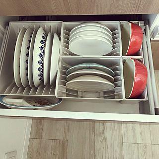 キッチン収納ケース ディッシュスタンド L システムキッチン 引き出し用 トトノ 皿立て ディッシュラック 食器 収納 整理 組み合わせ シンク下 食器棚 整理ケース 収納ストッカー キッチンストッカー 連結 が写っている写真 お皿 収納 キッチン 収納