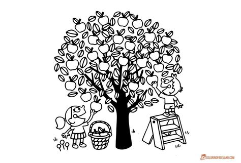 Apple Tree Coloring Pages Downloadable And Printable Collection Tree Coloring Page Coloring Pages Mom Coloring Pages