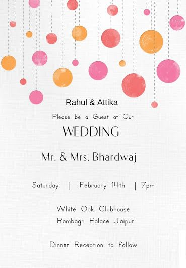 Wedding Wording Samples and Ideas for Indian Wedding Invitations - reception invitation template